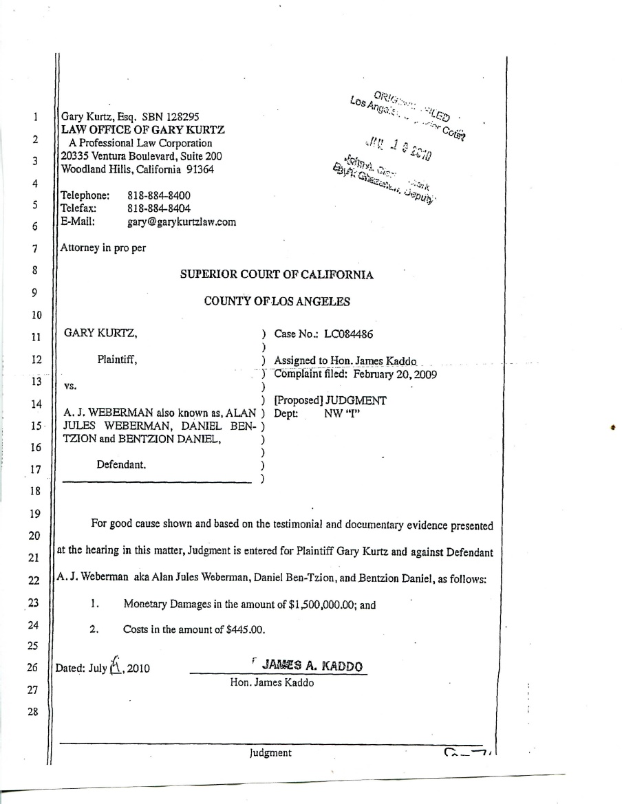Gary Kurtz $1.5 Million Dollar Judgment Against Alan Jules Weberman
